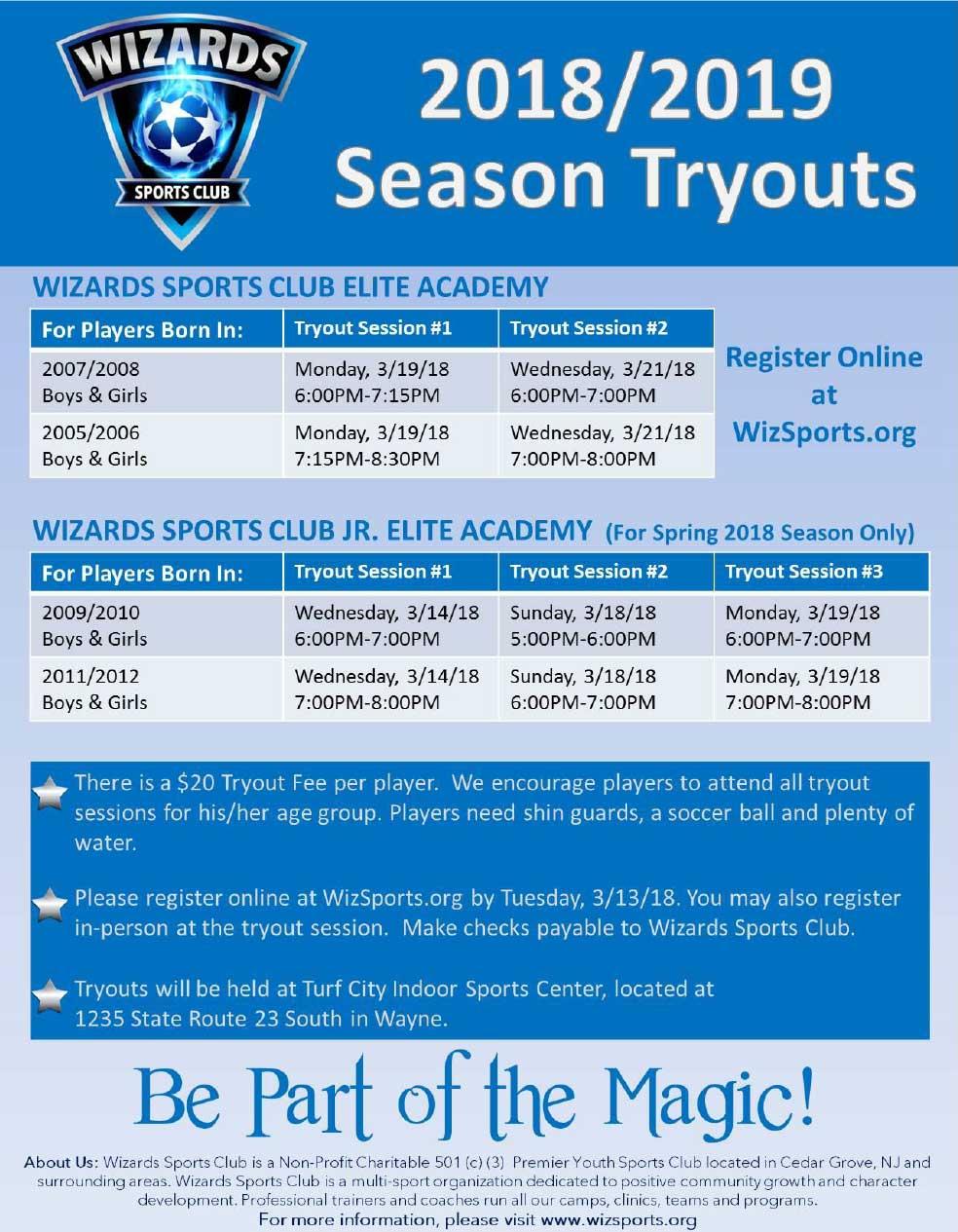 Tryouts 2018-2019 Season