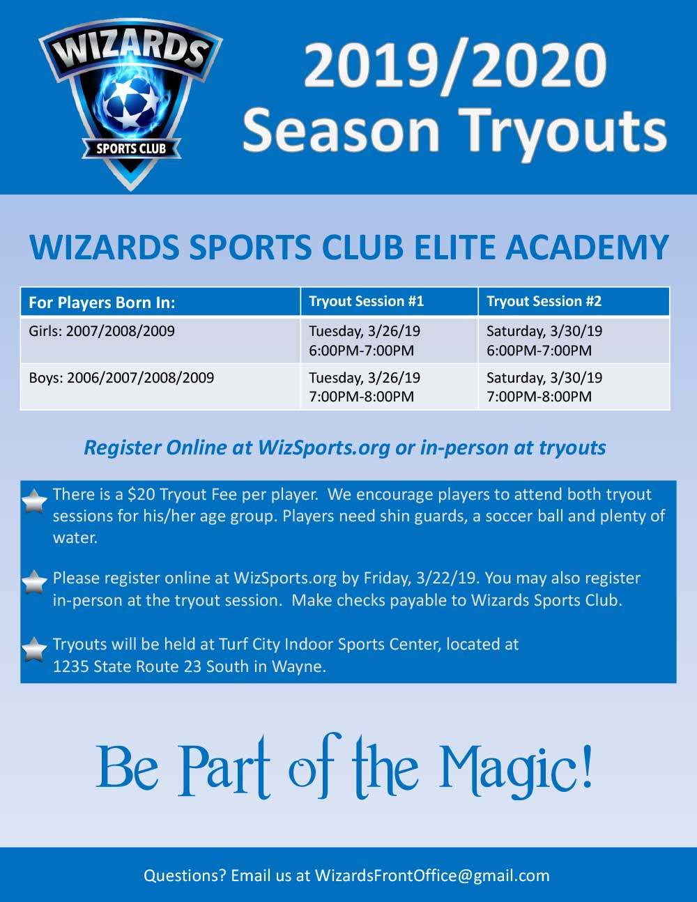 Tryouts 2019-2020 Season